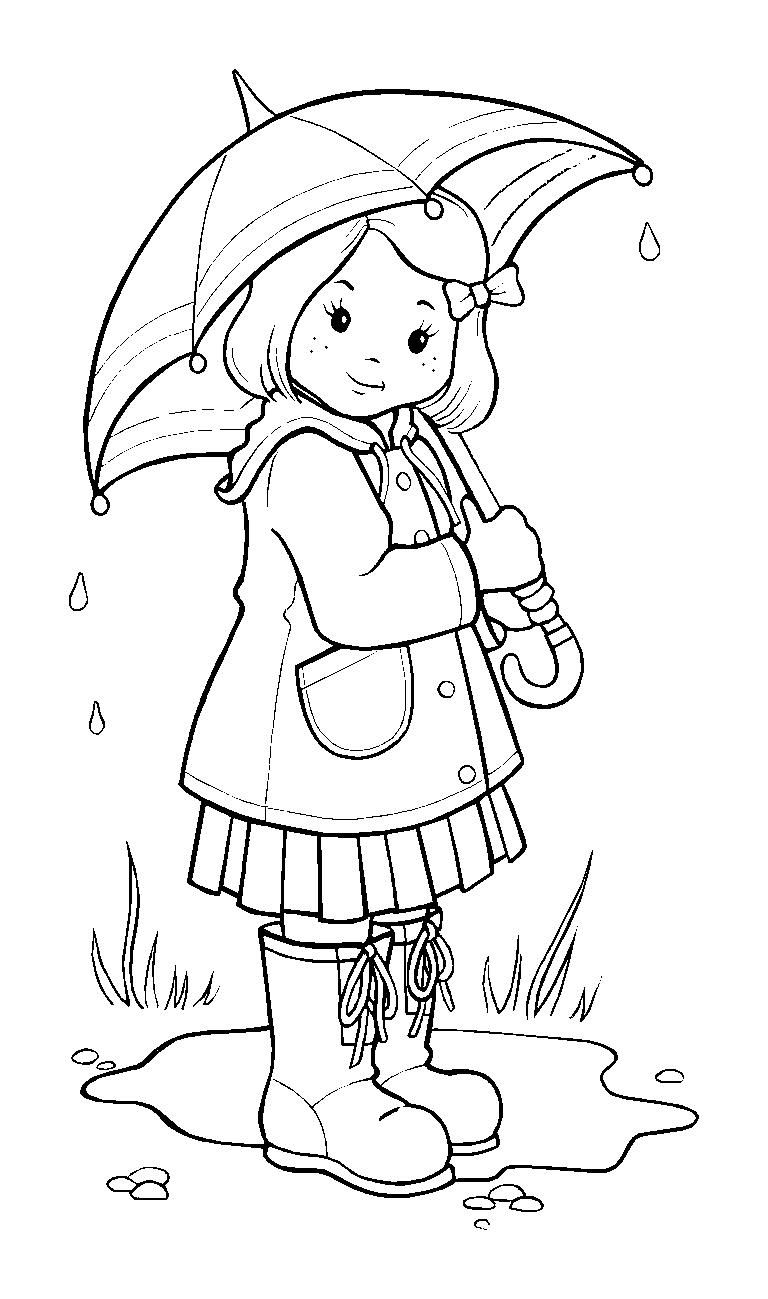 Drawn rain coloring page  : Girl pages On
