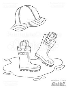 Drawn rain coloring page Hat Learn: Printable Color &
