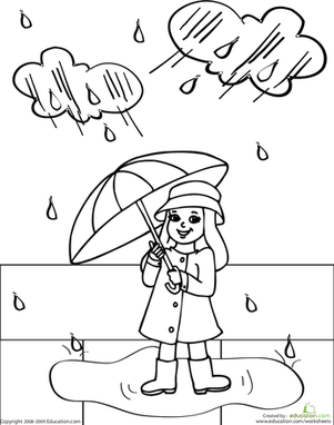 Drawn rain coloring page Day Color Rosie  Rainy