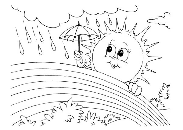 Drawn rain colouring page Printable pages page: (Nature) pages