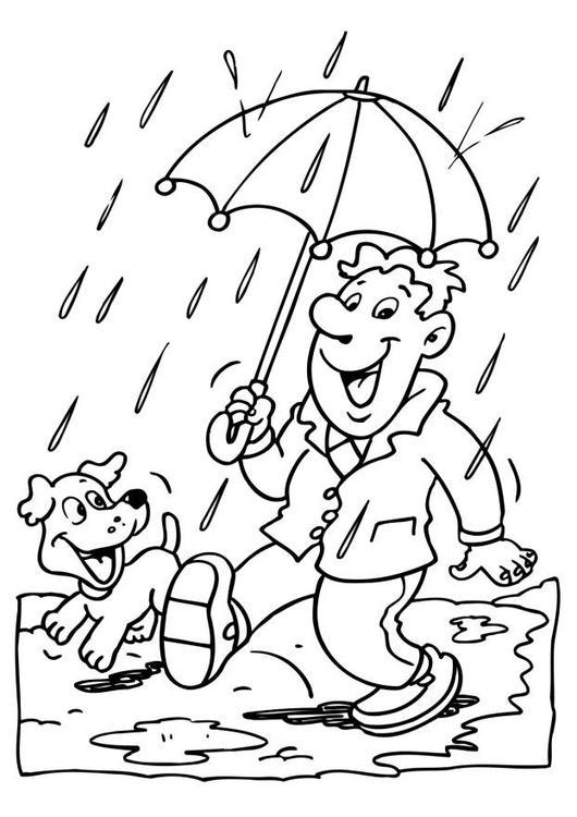 Drawn rain colouring page Rainy Coloring day rain