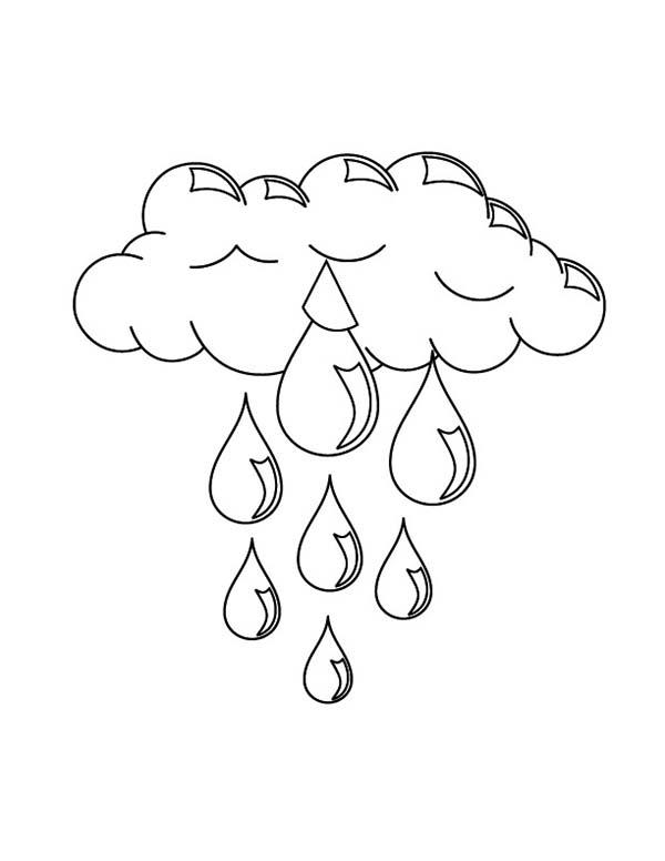 Drawn rain colouring page Printable Rain (Nature) rain pages