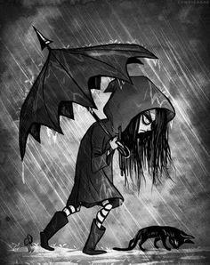 Drawn rain emo Wish by Parororo What (print