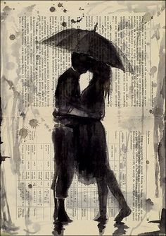 Drawn rain kiss Kissing Sketch Original Couple