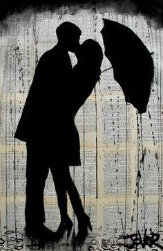 Drawn rain kiss Saatchi #art