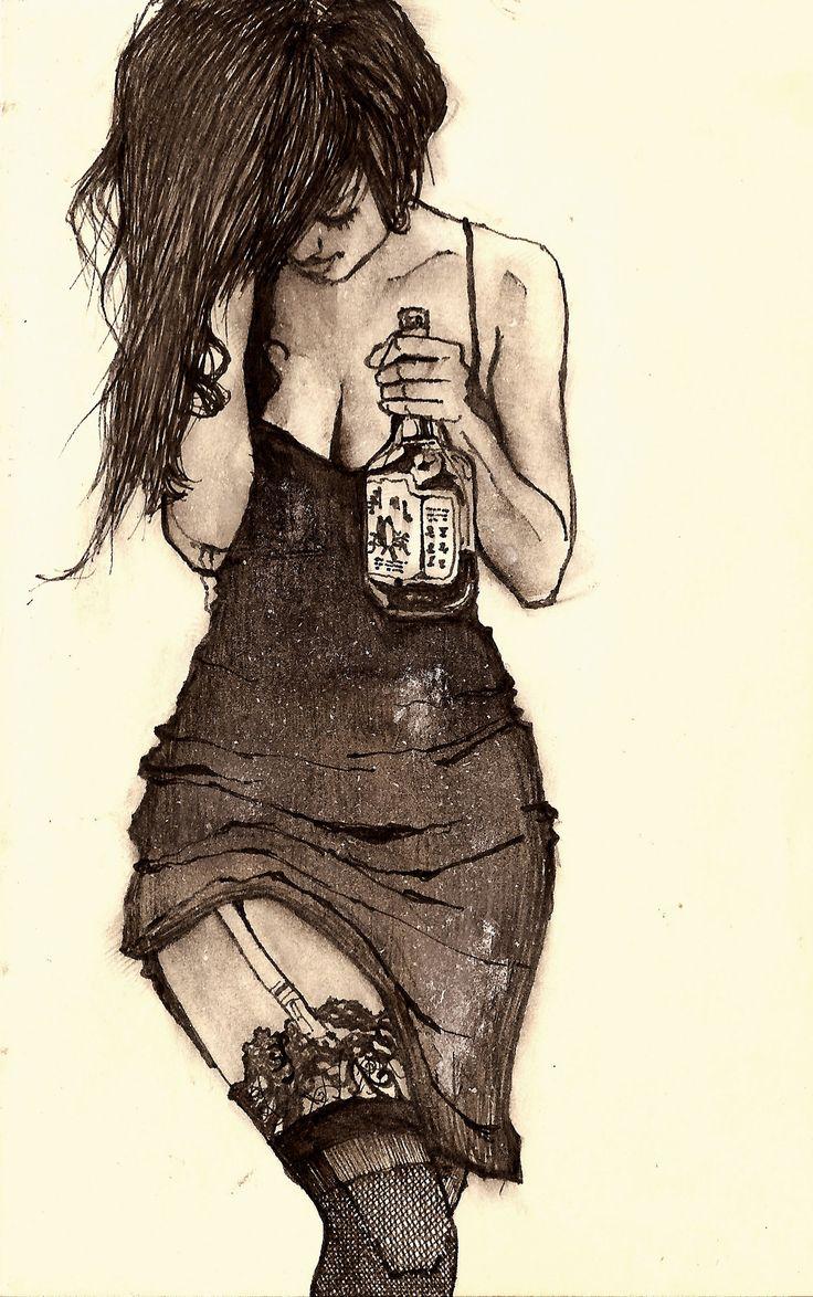 Drawn rain lonely  girl girl Pinterest Johnson