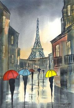 Drawn rain pari Paris cities Rainy Paris' and