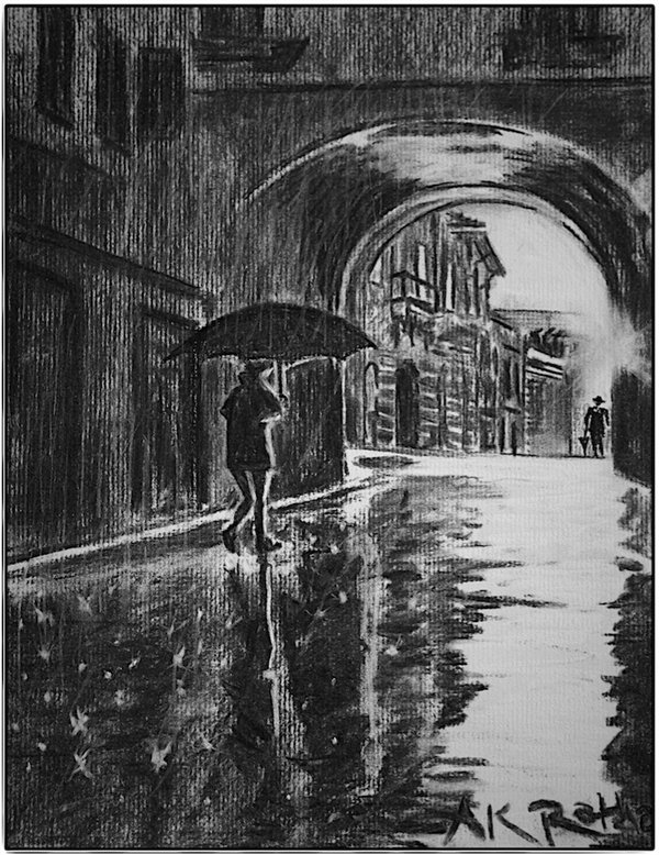 Drawn rain pari And on on Streets Paris
