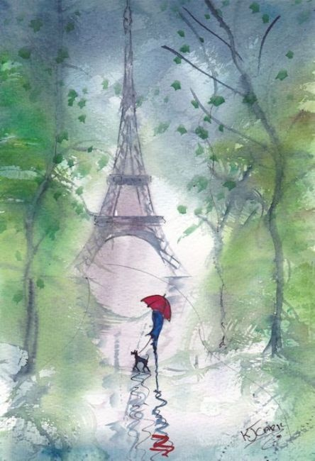 Drawn rain pari Lovely Paris~Windy Rainy Paris~Windy paints