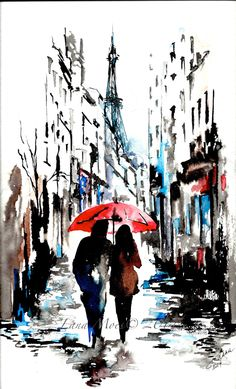 Drawn rain pari LanasArt from contemporary por Print