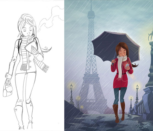 Drawn rain pari Illustrator Day NormGrock Rainy RainyDayinParis