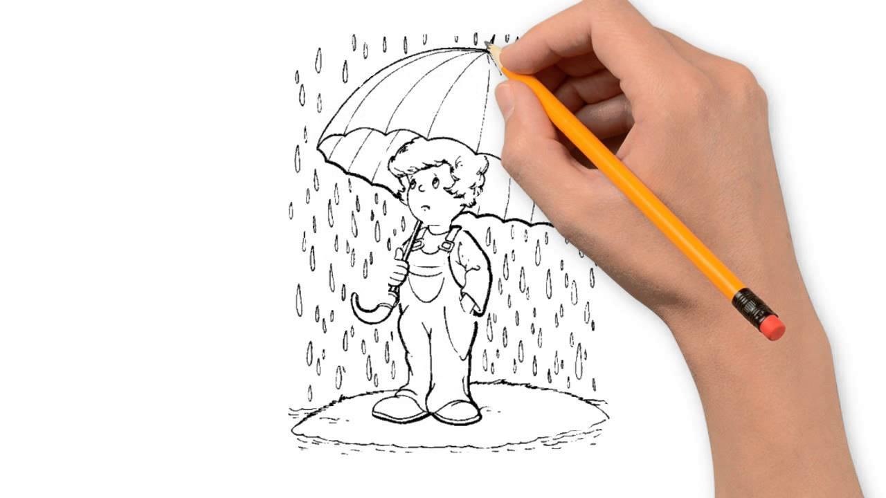 Drawn rain pencil drawing Draw by step rain nature