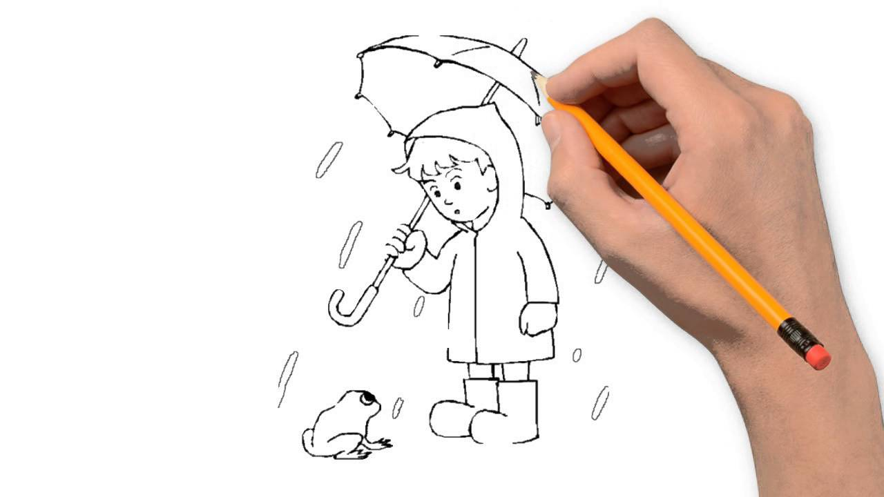 Drawn rain pencil drawing Step step by nature pencil