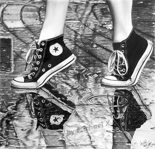 Drawn shoe pencil DeviantArt shoes shoes rain in