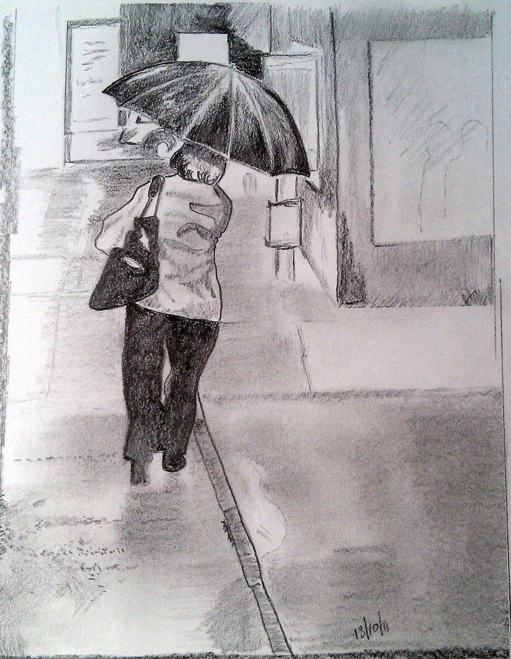 Drawn rain pencil sketch 2011 by Rainy artist Crafthubs