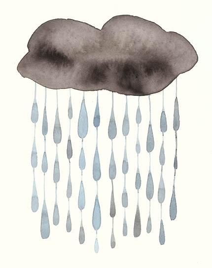 Drawn clouds rain Watercolor Rain Watercolor Rain 2