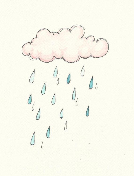 Drawn rain rain cloud Home Original Watercolour Rain clouds