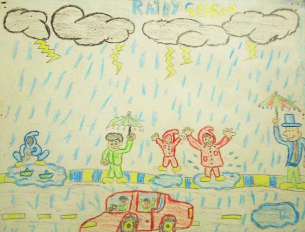 Drawn rain rainy season Five Clip Children Clip Rainy