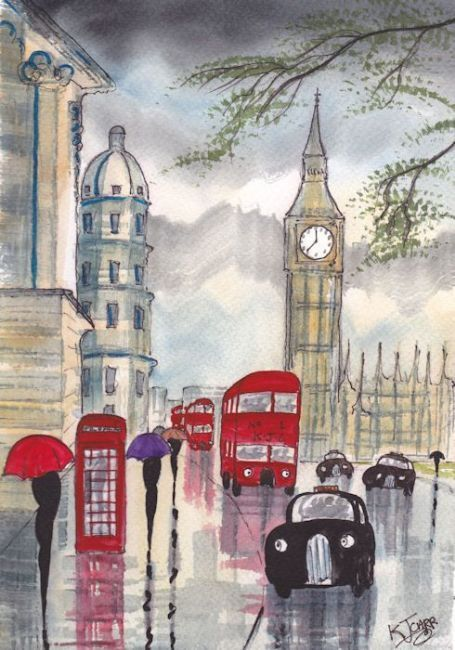 Drawn big ben rainy city Draw Pin nature/scenery how to