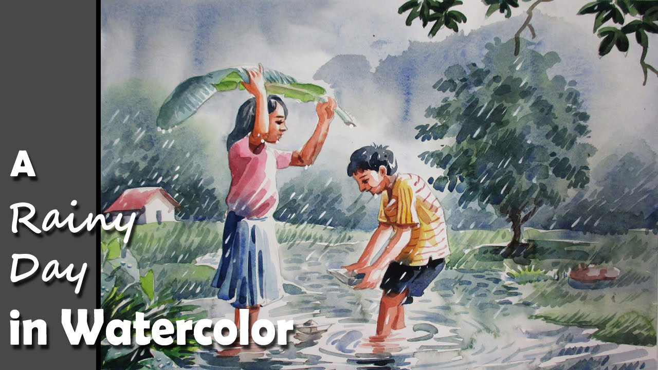 Drawn rain scenery A scene  Day YouTube