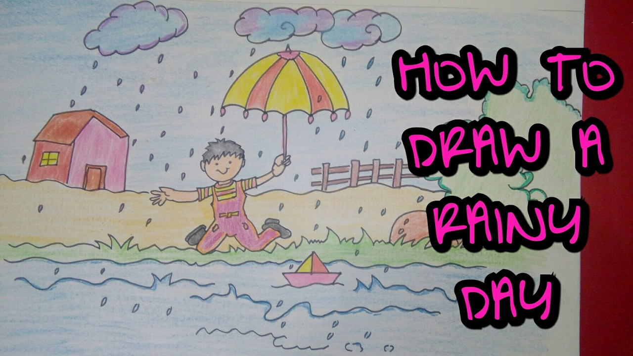 Drawn rain scenery Of rainy Drawing day easy