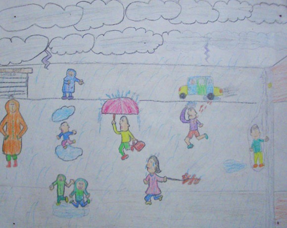 Drawn rain scenery Rain of Five Children of