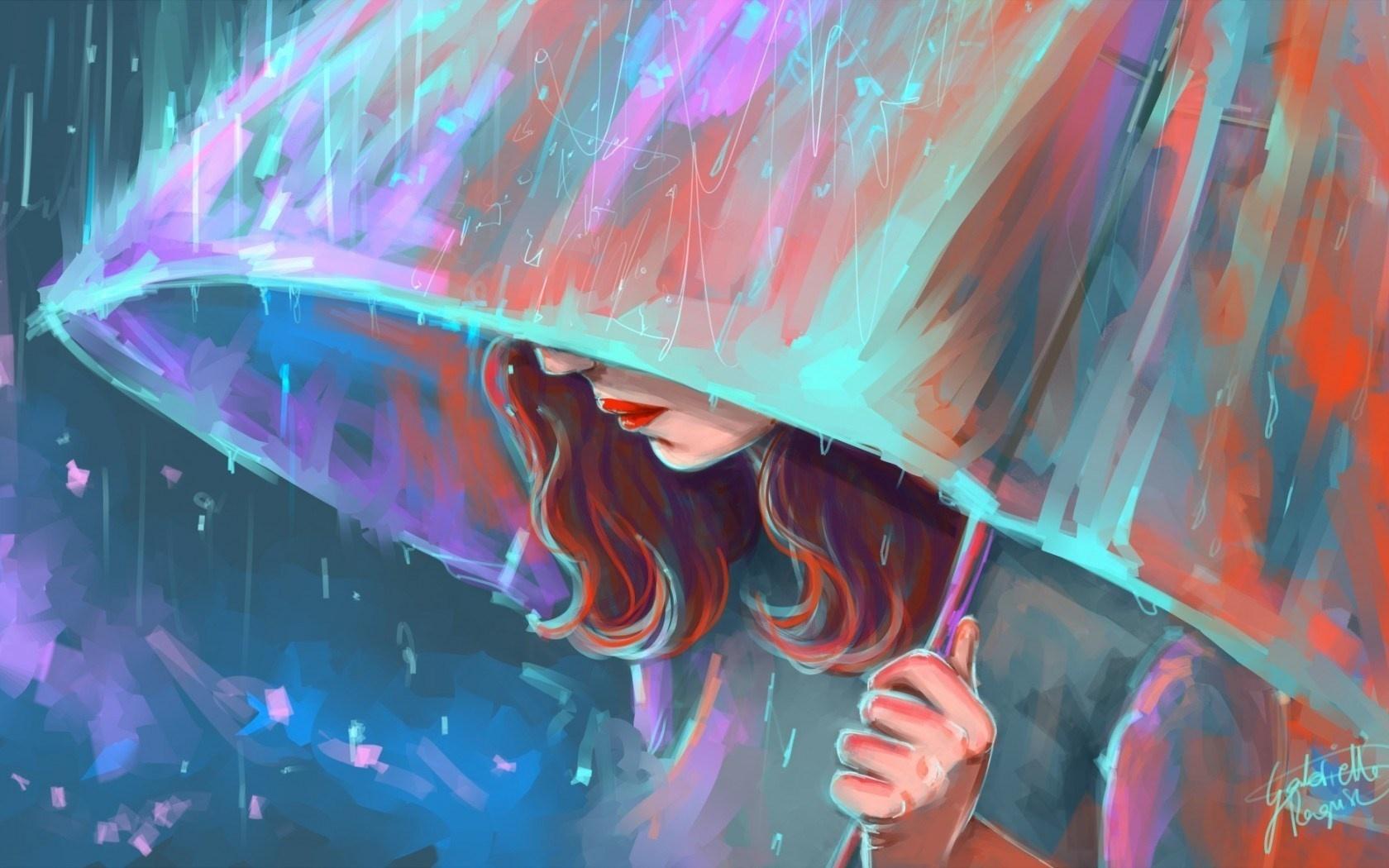 Drawn rain umbrella rain With A Of In In