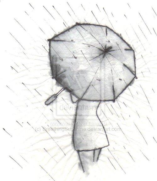 Drawn rain umbrella rain Heart umbrella Regenschirm Drea Mell