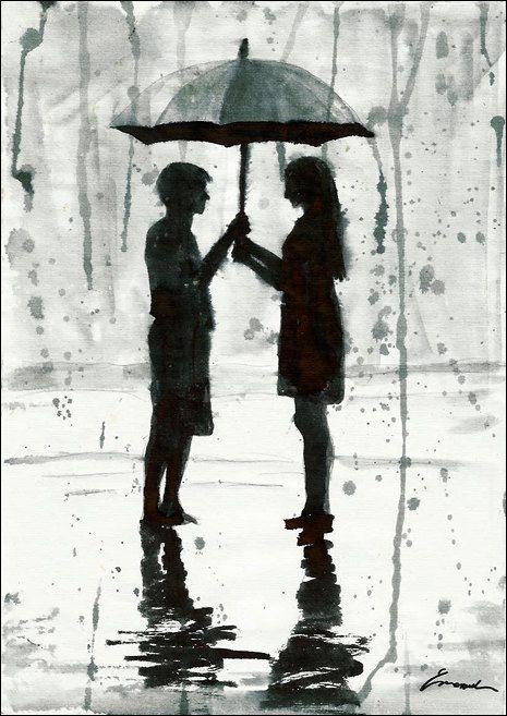 Drawn rain umbrella rain 44 Love Print Pinterest Drawing