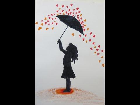 Drawn rain umbrella rain Hearts Drawing Girl an Umbrella