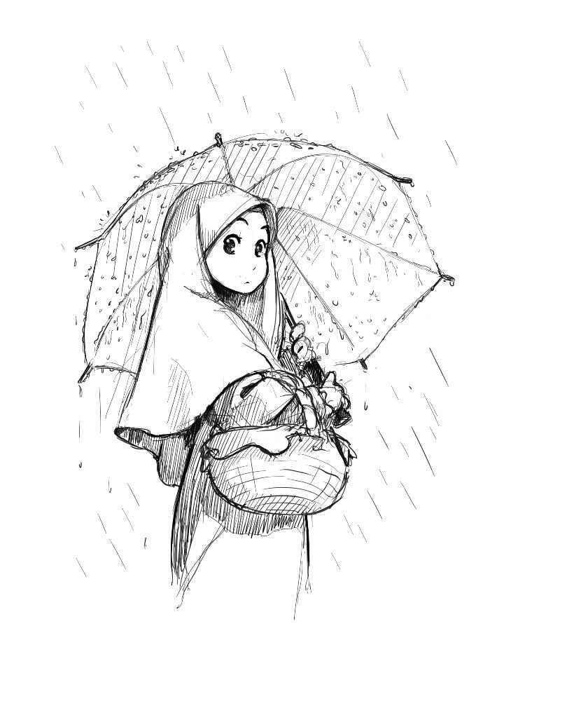 Drawn rain umbrella rain Pinterest  Manga+Girl+With+Umbrella+in+the+Rain Manga Islam