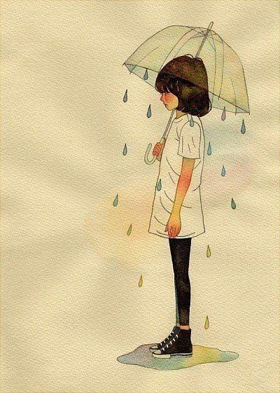 Drawn rain umbrella rain Pinterest #art #girl 64 Umbrellas