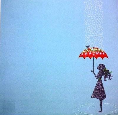Drawn rain umbrella rain Bird girl bird Girl