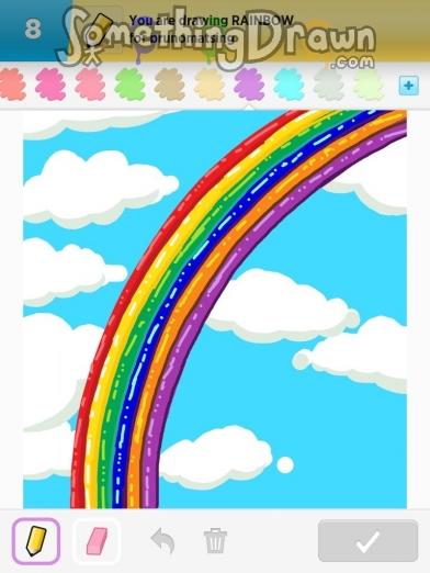 Drawn rainbow Something com RAINBOW on Draw