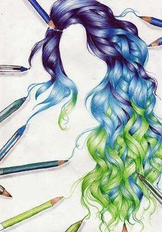 Drawn rainbow blue #rainbow and Rainbow :) awesome