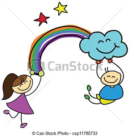 Drawn rainbow cartoon Holding rainbow drawn hand kids