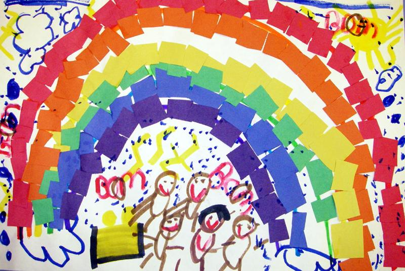 Drawn rainbow class  Mrs Kindergarten with Brown