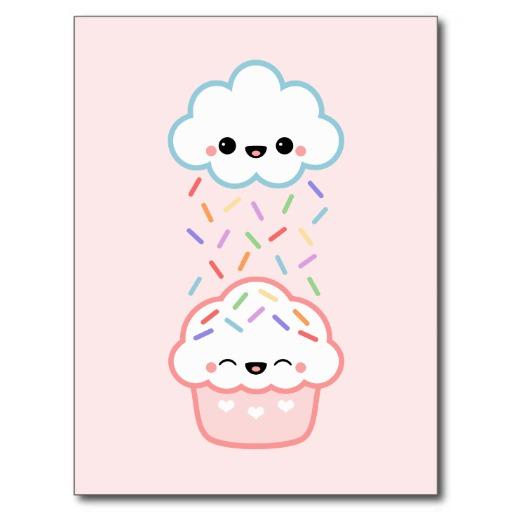 Drawn rainbow cloud How kawaii Cupcake and with