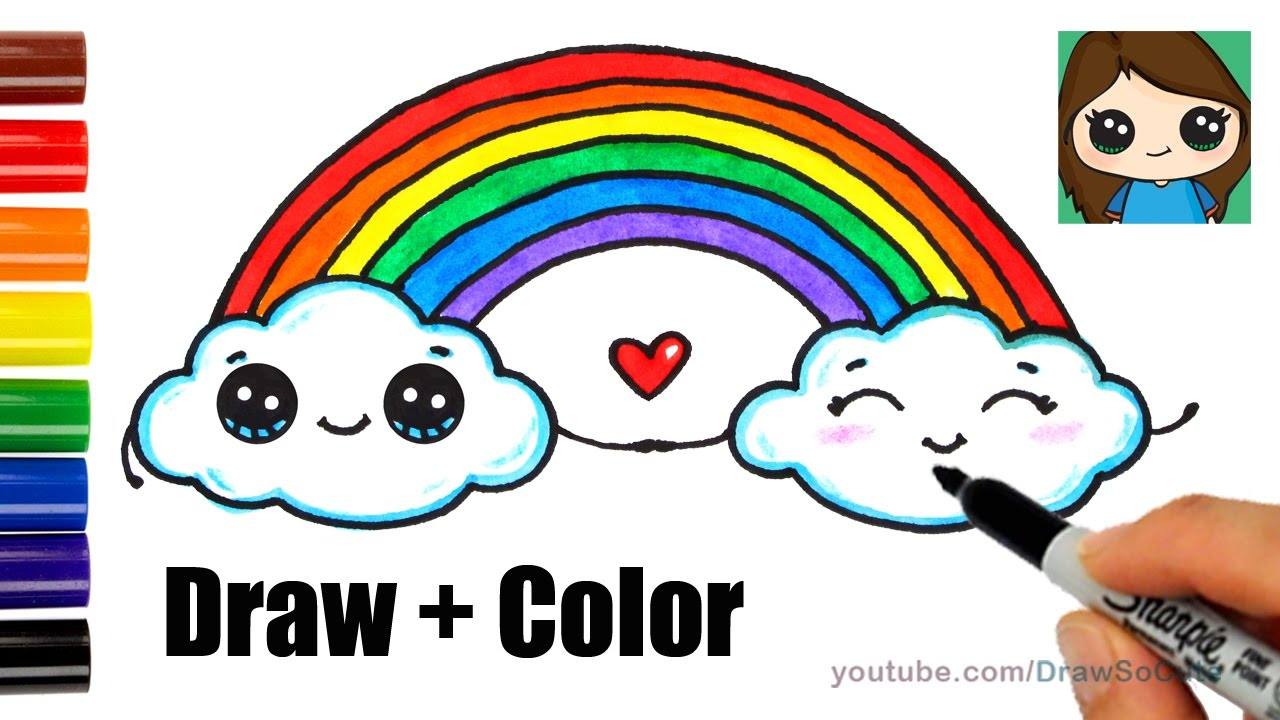 Drawn rainbow cloud clip art How to to Draw Easy