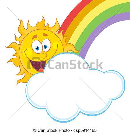 Drawn rainbow cloud clip art Sun With With A Sun