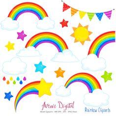 Drawn rainbow cloud clip art Set Clipart eps Scrapbook by
