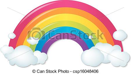Drawn rainbow cloud clip art With Rainbow Clouds With Color