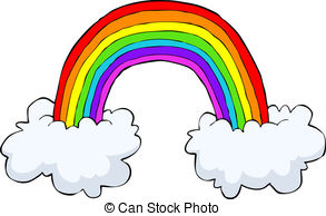 Drawn rainbow cloud graphic Abstract with a rainbow vector