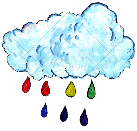 Drawn rainbow cloud png Photos Colorful Watercolor Drawing Watercolor