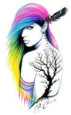 Drawn rainbow colour Beautiful  foda Pencil around