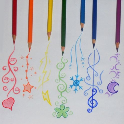 Drawn rainbow colour Cute drawing pencils colored pencils