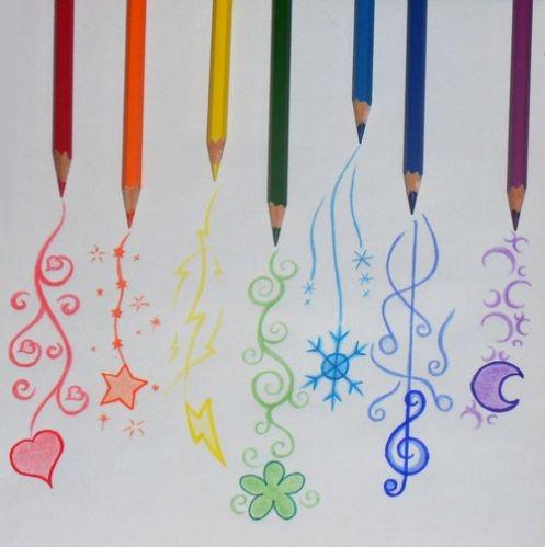 Drawn rainbow colour Rainbow pencils colored colored pencils