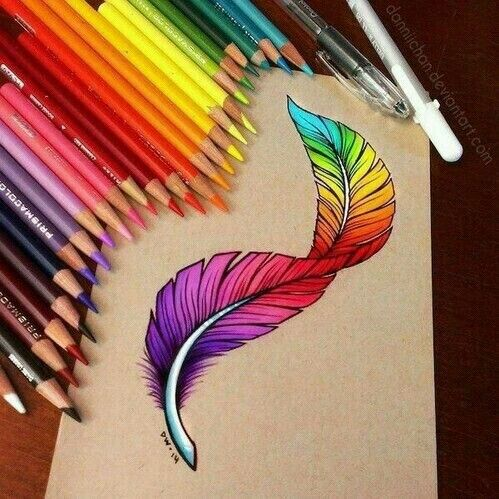 Drawn rainbow colour … Dibujos Pinterest Colorful feathers