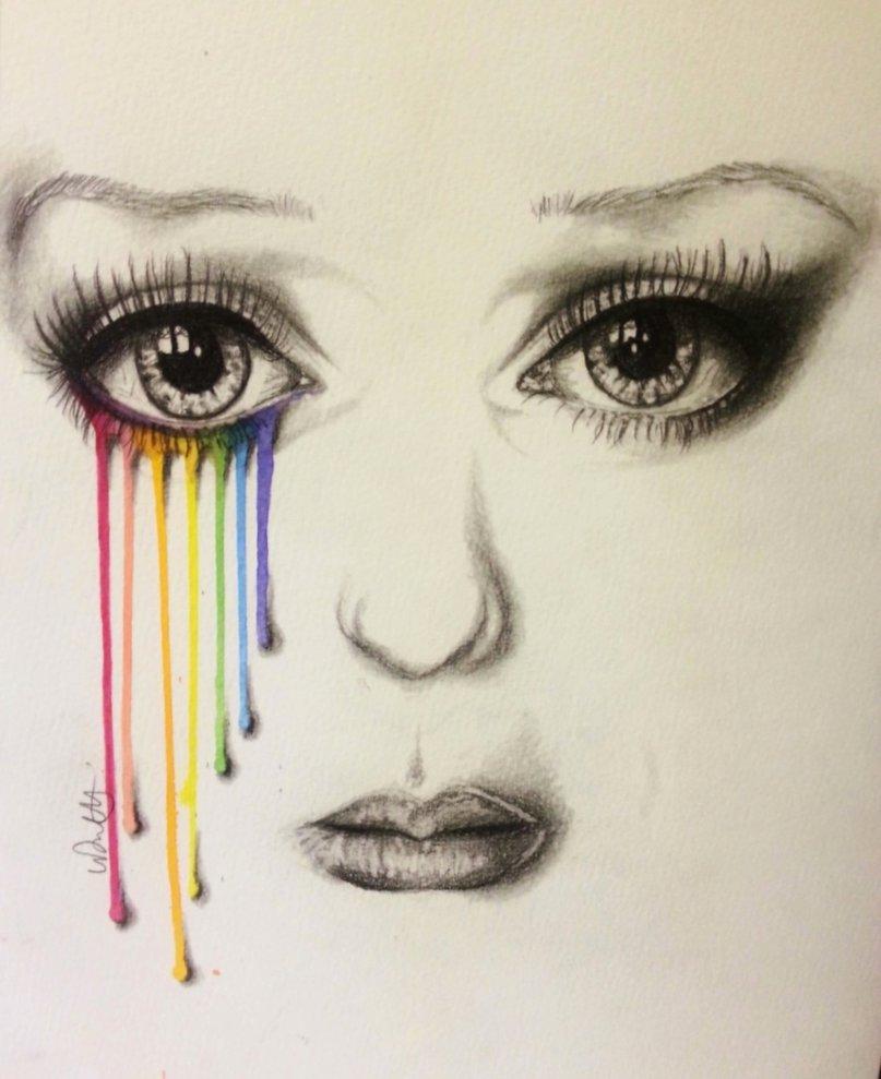 Drawn rainbow colour  a has on artist