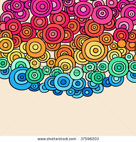 Drawn rainbow doodle  Circles Abstract Psychedelic stock